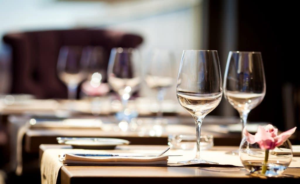 hot hotel sex wine glasses at restaurant